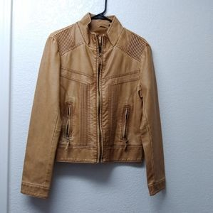 Big Chill Vintage faux leather brown jacket Size L